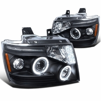 07-14 Chevy Suburban / Tahoe / Avalanche LED Halo Projector Headlights - Black 2LHP-AVA07JM-TM