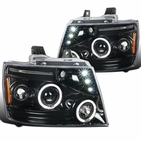 07-14 Chevy Suburban / Tahoe / Avalanche LED Halo Projector Headlights - Gloss Black / Clear