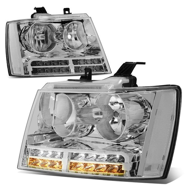07-14 Chevy Suburban Tahoe LED DRL+Turn Signal Headlights - Chrome / Clear