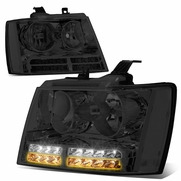 07-14 Chevy Suburban Tahoe LED DRL+Turn Signal Headlights - Smoked / Clear