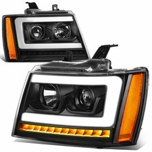 07-14 Chevy Tahoe / Suburban LED DRL Tube / Sequential LED Signal Projector Headlights - Black / Amber