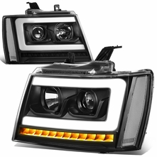07-14 Chevy Tahoe / Suburban LED DRL Tube / Sequential LED Signal Projector Headlights - Black / Clear