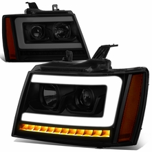 07-14 Chevy Tahoe / Suburban LED DRL Tube / Sequential LED Signal Projector Headlights - Black Smoked / Amber