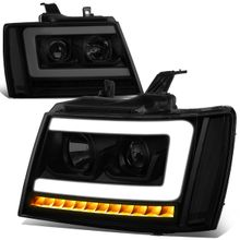 07-14 Chevy Tahoe / Suburban LED DRL Tube / Sequential LED Signal Projector Headlights - Black Smoked / Clear