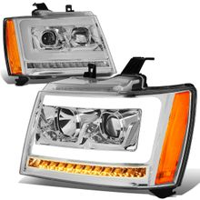 07-14 Chevy Tahoe / Suburban LED DRL Tube / Sequential LED Signal Projector Headlights - Chrome / Amber