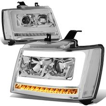 07-14 Chevy Tahoe / Suburban LED DRL Tube / Sequential LED Signal Projector Headlights - Chrome / Clear