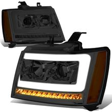 07-14 Chevy Tahoe / Suburban LED DRL Tube / Sequential LED Signal Projector Headlights - Smoked / Amber