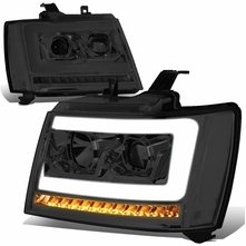 07-14 Chevy Tahoe / Suburban LED DRL Tube / Sequential LED Signal Projector Headlights - Smoked / Clear