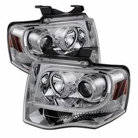 07-14 Ford Expedition Angel Eye Halo Projector Headlights - Chrome