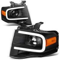 07-14 Ford Expedition LED DRL Tube Projector Headlights - Black / Amber