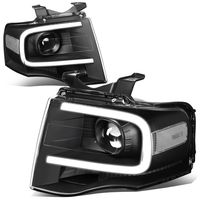 07-14 Ford Expedition LED DRL Tube Projector Headlights - Black / Clear