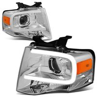 07-14 Ford Expedition LED DRL Tube Projector Headlights - Chrome / Amber