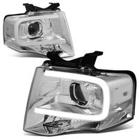 07-14 Ford Expedition LED DRL Tube Projector Headlights - Chrome / Clear