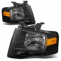 07-14 Ford Expedition OE-Style Replacement Headlight Set - Black / Amber