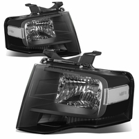 07-14 Ford Expedition OE-Style Replacement Headlight Set - Black / Clear