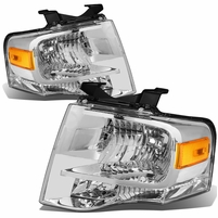 07-14 Ford Expedition OE-Style Replacement Headlight Set - Chrome / Amber