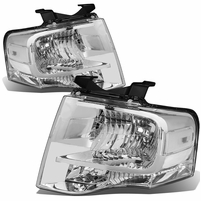 07-14 Ford Expedition OE-Style Replacement Headlight Set - Chrome / Clear