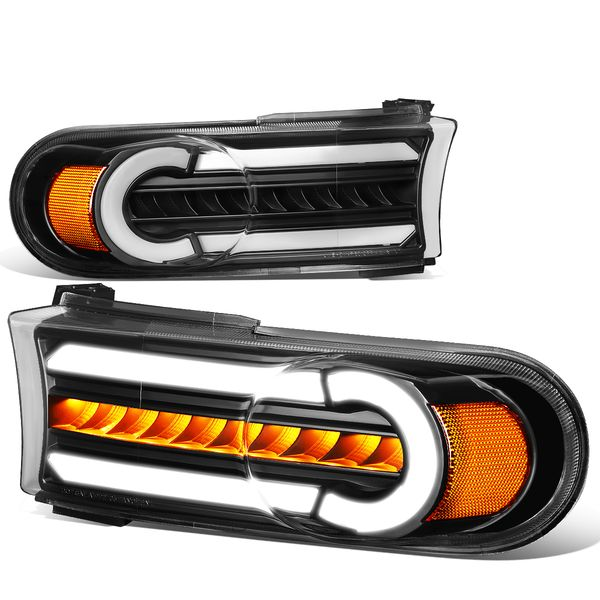 07-14 Toyota FJ Cruiser 3D LED DRL+Sequential Turn Signal Bumper Lights Black/Amber