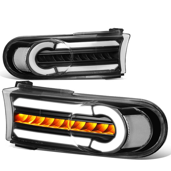 07-14 Toyota FJ Cruiser 3D LED DRL+Sequential Turn Signal Bumper Lights Black/Clear