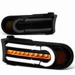 07-14 Toyota FJ Cruiser 3D LED DRL+Sequential Turn Signal Bumper Lights Black Smoked / Amber