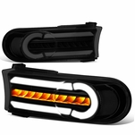 07-14 Toyota FJ Cruiser 3D LED DRL+Sequential Turn Signal Bumper Lights Black Smoked / Clear