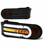 07-14 Toyota FJ Cruiser 3D LED DRL+Sequential Turn Signal Bumper Lights Smoked/Amber