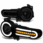 07-14 Toyota FJ Cruiser LED DRL [Sequential Signal] Halo Headlights - Black Smoked / Amber