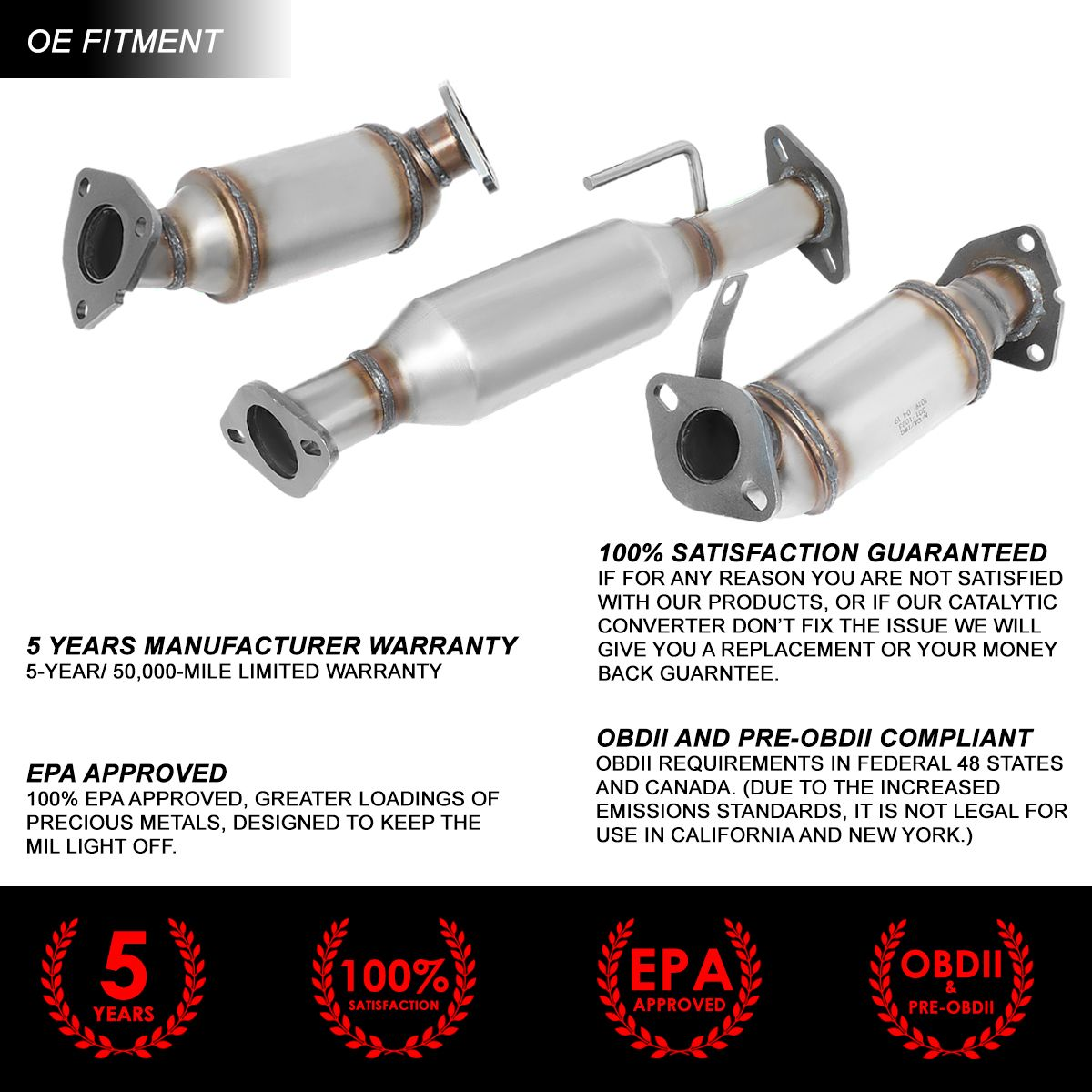 3Pcs OE Style Catalytic Converter Exhaust Pipe for GMC Acadia Chevy Traverse Outlook 3.6L 07-15