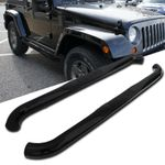 "07-18 Jeep Wrangler JK 2Dr 3"" Black Stainless Steel Side Step Nerf Bars Boards"