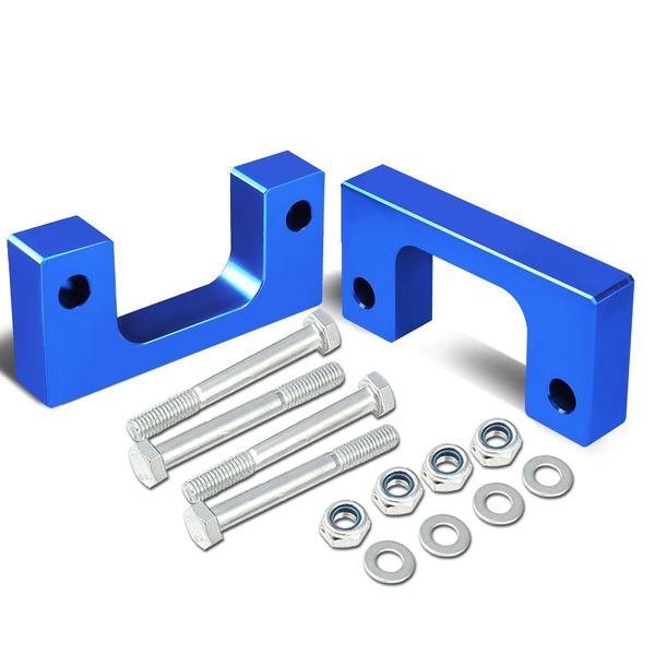 """07-17 Chevy/GMC Silverado/Sierra Blue Front 1-1/2"""" Aluminum Low Mount Leveling Lift Kit Spacers"""