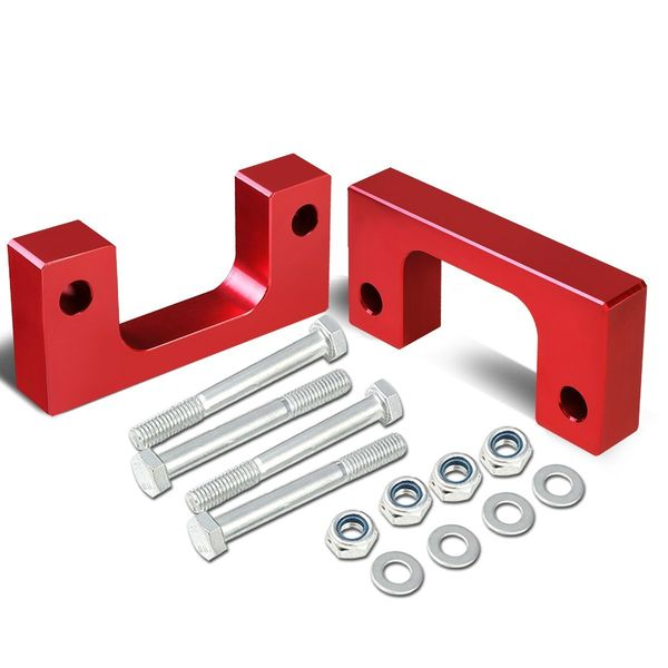 "07-17 Chevy/GMC Silverado/Sierra Red Front 1-1/2"" Aluminum Low Mount Leveling Lift Kit Spacers"