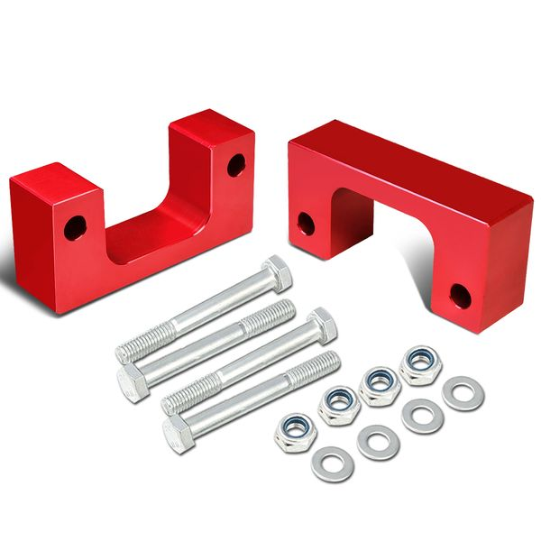 "07-17 Chevy/GMC Silverado/Sierra Red Front 2-1/2"" Aluminum Low Mount Leveling Lift Kit Spacers"