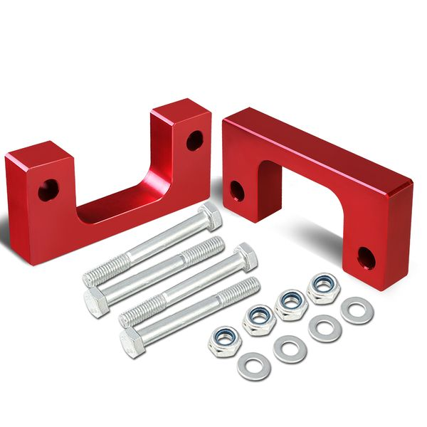 """07-17 Chevy/GMC Silverado/Sierra Red Front 2"""" Aluminum Low Mount Leveling Lift Kit Spacers"""