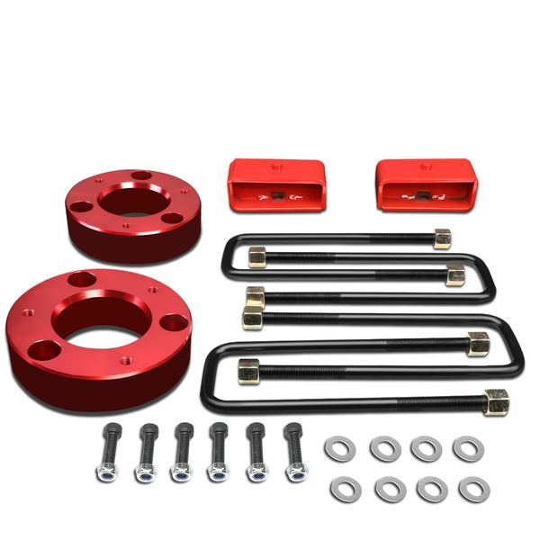 "07-17 Chevy Silverado / GMC Sierra [1500 Model] Red 2.5"" Front 2"" Rear High Mount Leveling Lift Kit Spacers + Blocks"