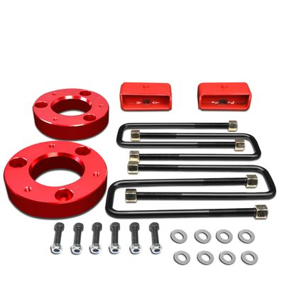 """07-17 Chevy Silverado / GMC Sierra [1500 Model] Red 2"""" Front 2"""" Rear High Mount Leveling Lift Kit Spacers + Blocks"""