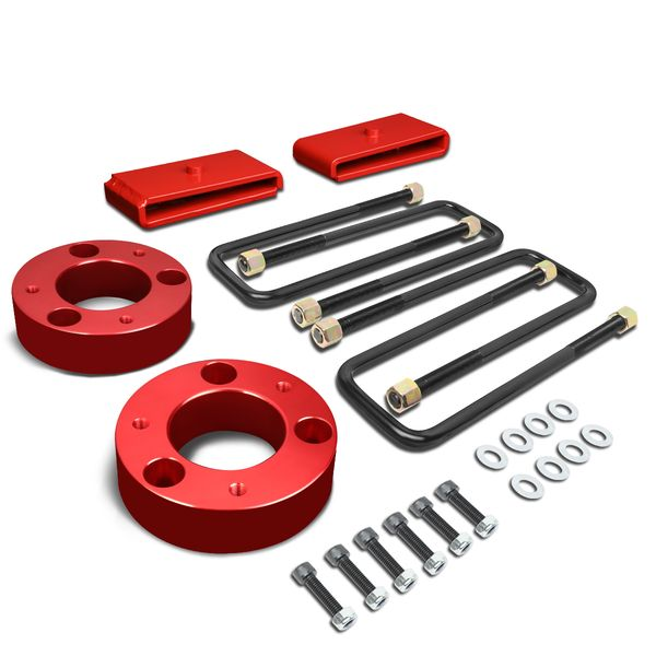 "07-17 Chevy Silverado/GMC Sierra 1500 Red 3"" Front Spacer + 1"" Rear Block Leveling Lift Kit"