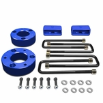 "07-17 Chevy Silverado / GMC Sierra Blue 3"" Front 2"" Rear High Mount Leveling Lift Kit Spacers + Blocks"