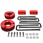 "07-17 Chevy Silverado / GMC Sierra Red 3"" Front 2"" Rear High Mount Leveling Lift Kit Spacers + Blocks"
