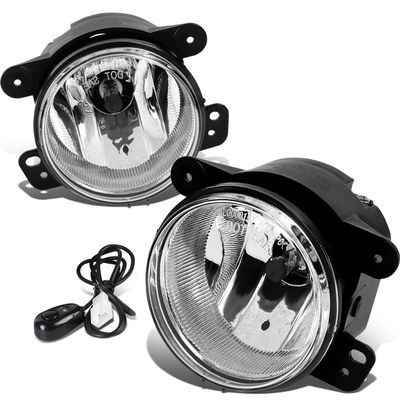 07-17 Jeep Wrangler JK Pair of Driving Bumper Fog Lights + Wiring Harness + Switch (Clear Lens)
