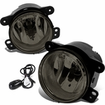 07-17 Jeep Wrangler JK Pair of Driving Bumper Fog Lights + Wiring Harness + Switch (Smoke Lens)