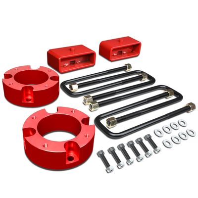 "07-18 Toyota Tundra Pair 3"" Front+2"" Rear Strut Top Mount Suspension Leveling Lift Kit - Red"