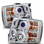 2007-2014 Chevy Silverado Angel Eye Halo LED Projector Headlights - Chrome (CCFL Optional)