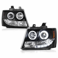 07-2014 Chevy Suburban / Tahoe / Avalanche  Angel Eye Halo & LED Projector Headlights - Black