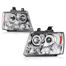 07-2014 Chevy Suburban / Tahoe / Avalanche  Angel Eye Halo & LED Projector Headlights - Chrome