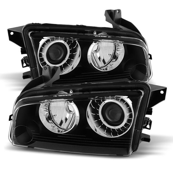 08-10 Dodge Charger[HID Model] Crystal Replacement Headlights - Black