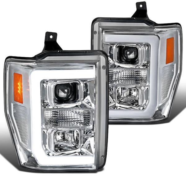 08-10 Ford F250 F350 F450 Chrome Housing LED DRL Strip Projector Headlights