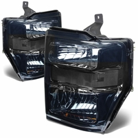 08-10 Ford Sueprduty F250 F350 F450 F550 Replacement Crystal Headlights - Smoked Clear