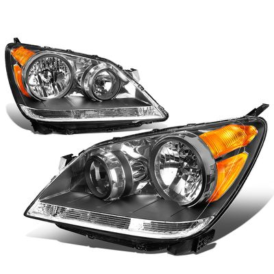 08-10 Honda Odyssey Headlight Assembly (Driver & Passenger Side) - Black Amber