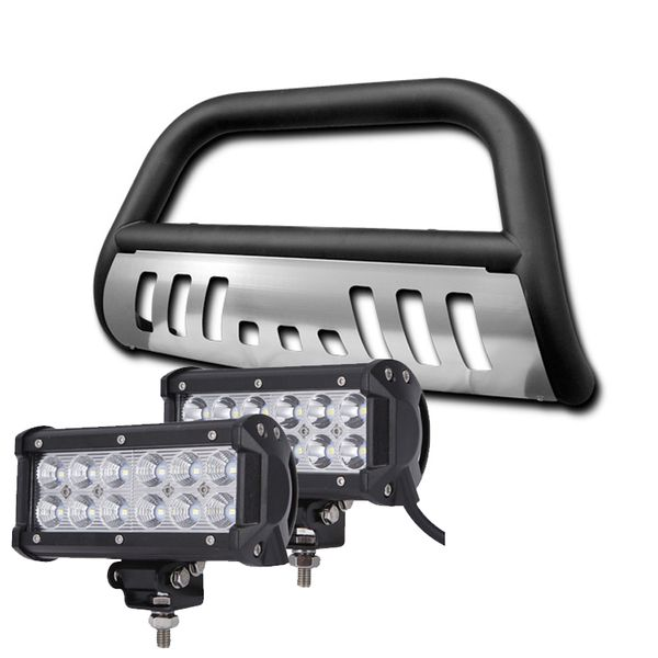 08-10 Jeep Grand Cherokee Front Bull Bar Guard + 36W LED Light Bar - Black Skid Plate