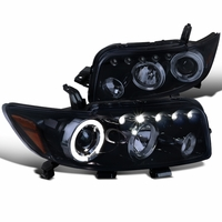08-10 Scion xB LED-DRL & Halo Projector Headlights - Gloss Black / Smoked
